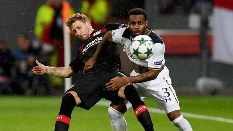Leverkusen's forward Stefan Kiessling (L) and Tottenham Hotspur's English defender Danny Rose vie for the ball during the Champions League first leg footba
