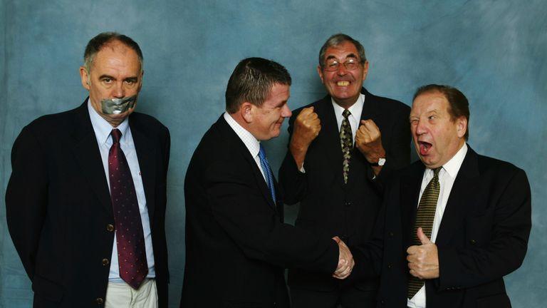(L-R) Sky Sports darts commentators Sid Waddell, Stuart Pyke, Dave Lanning and John Gwynne
