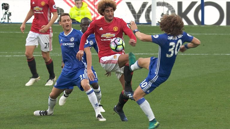 Luiz received a yellow card for his tackle on Fellaini