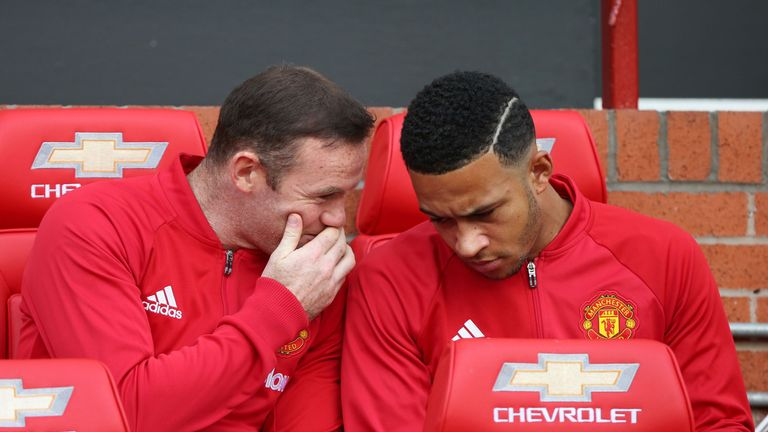 Memphis Depay (R) is yet to start a Premier League game for Manchester United this season