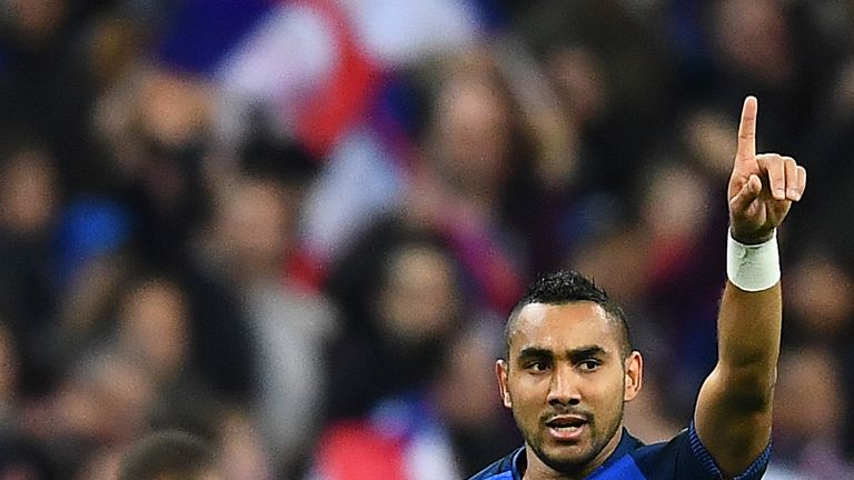 France's forward Dimitri Payet celebrates after scoring during the FIFA World Cup 2018 qualifying football match France vs Bulgaria on October 7, 2016  at