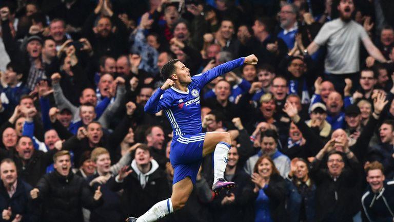 Eden Hazard celebates after scoring Chelsea's third goal