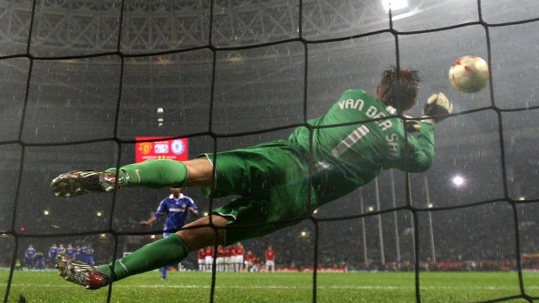 Manchester United's Dutch goalkeeper Edwin van der Sar saves a penalty by Chelsea's French forward Nicolas Anelka to win the final of the UEFA Champions Le