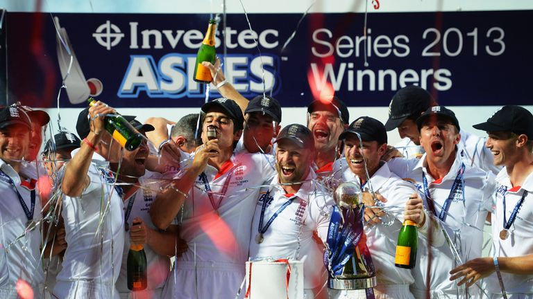 Cook kisses the urn after winning his first Ashes series as captain in 2013