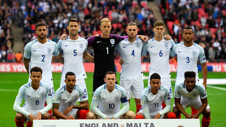 The England team pose for the cameras prior to kickoff