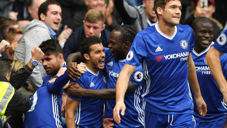 Pedro celebrates his early goal with his Chelsea team-mates