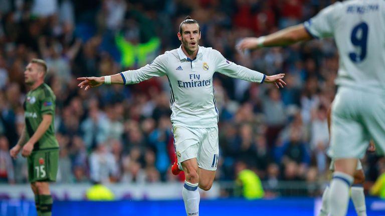 Gareth Bale celebrates scoring Real Madrid's first goal