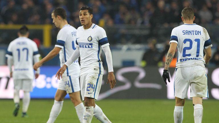 Jeison Murillo and Davide Santon of FC Internazionale Milano show their dejection