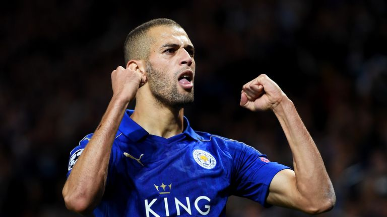 Islam Slimani celebrates after putting Leicester City 1-0 up against Porto at the King Power Stadium