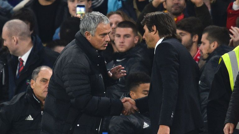 Jose Mourinho shakes hands with Antonio Conte after the final whistle