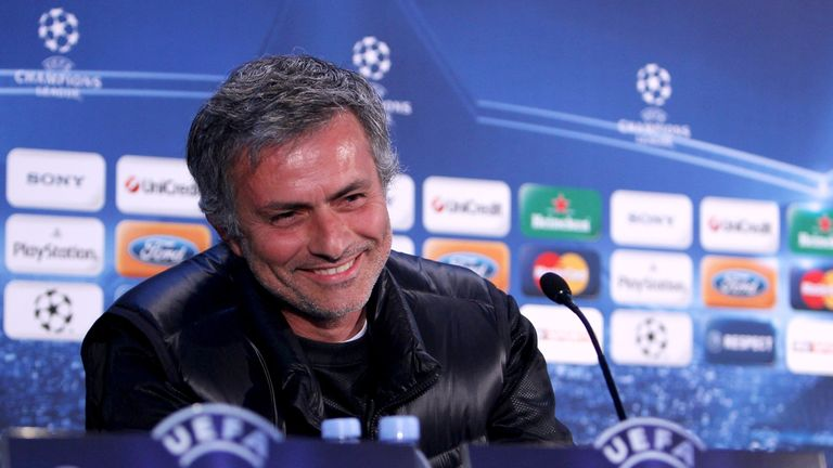Mourinho speaks to the press before Inter Milan's first meeting with Chelsea