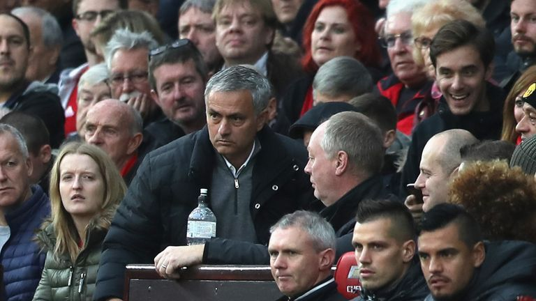Jose Mourinho is sent to the stands to watch the second half of the clash with Burnley