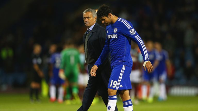 Jose Mourinho and Diego Costa in conversation after Chelsea's 2014 win at Burnley