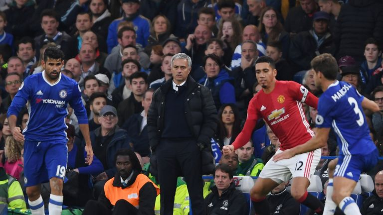 Mourinho looks on as United were hammered 4-0 earlier in the season by Chelsea