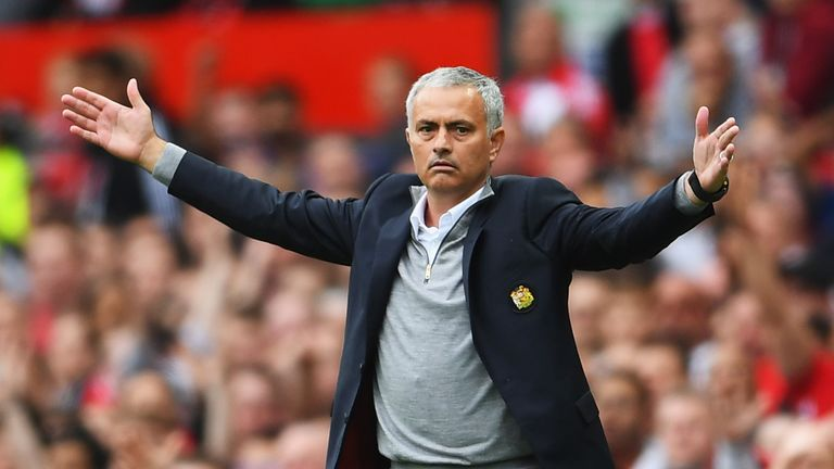 MANCHESTER, ENGLAND - SEPTEMBER 24: Jose Mourinho, Manager of Manchester United reacts during the Premier League match between Manchester United and Leices