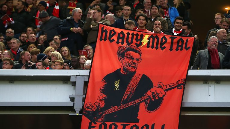 LIVERPOOL, ENGLAND - OCTOBER 22:  A Jurgen Klopp flag during the Premier League match between Liverpool and West Bromwich Albion at Anfield on October 22,