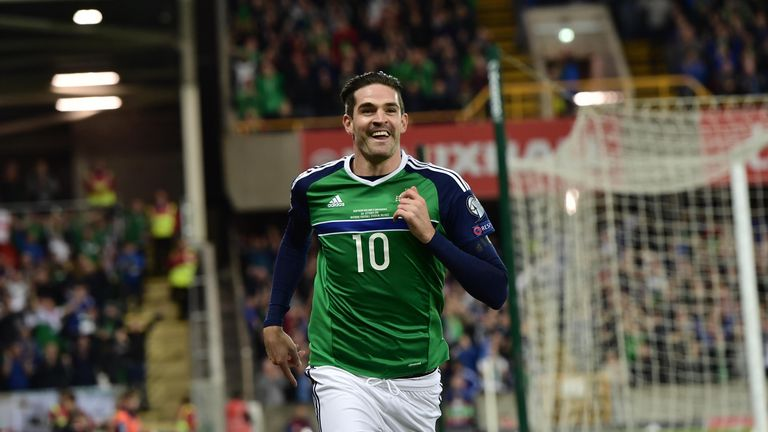BELFAST, NORTHERN IRELAND - OCTOBER 08: Kyle Lafferty of Northern Ireland celebrates after he scores during the FIFA 2018 World Cup Qualifier between North