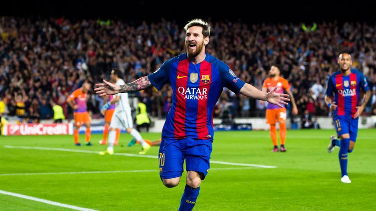 Lionel Messi celebrates after opening the scoring against Manchester City