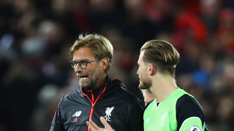 LIVERPOOL, ENGLAND - OCTOBER 17:  Jurgen Klopp, Manager of Liverpool talks with Loris Karius of Liverpool after the Premier League match between Liverpool