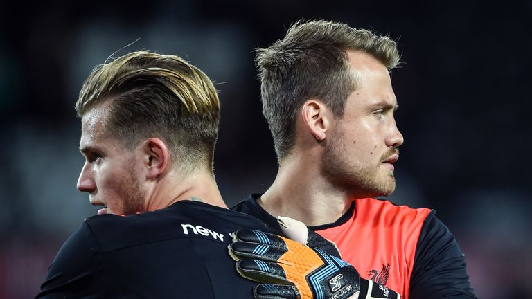 Loris Karius and Simon Mignolet before the EFL Cup Third Round tie against Derby County
