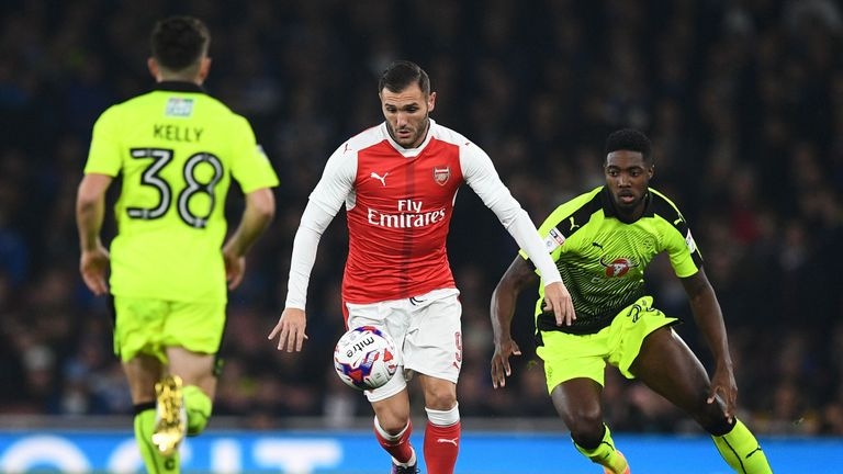 Lucas Perez controls the ball in Arsenal EFL Cup clash with Reading