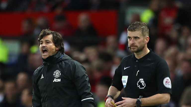 Rui Faria (L) deputised for Mourinho on the touchline in the second half and in the press conference
