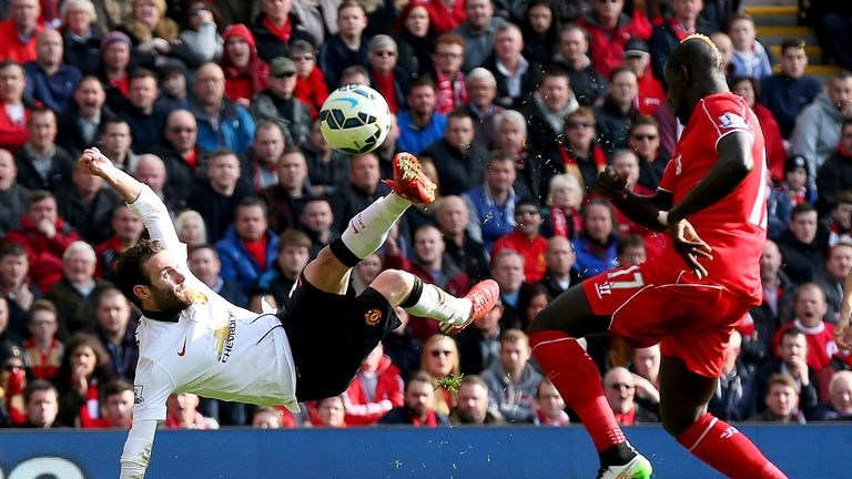 Mata scored an acrobatic goal against Liverpool at Anfield in 2015