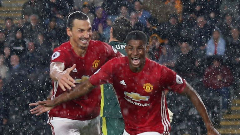 Rashford (right) says Ibrahimovic has been a huge influence on his team-mates