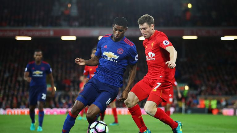 Marcus Rashford of Manchester United is closed down by Liverpool's James Milner