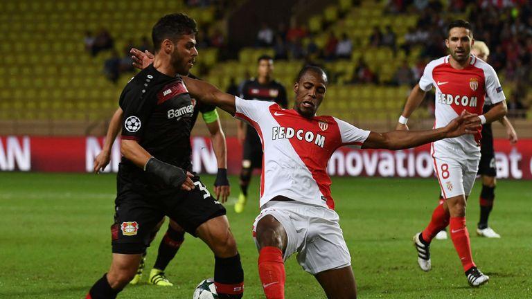 Monaco's French defender Djibril Sidibe (C) vies with Leverkusen's midfielder Karim Bellarabi during the UEFA Champions League football match AS Monaco vs