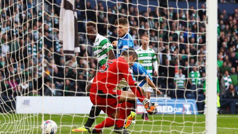 Moussa Dembele of Celtic scores his sides first goal during the Betfred Cup semi-final against Rangers