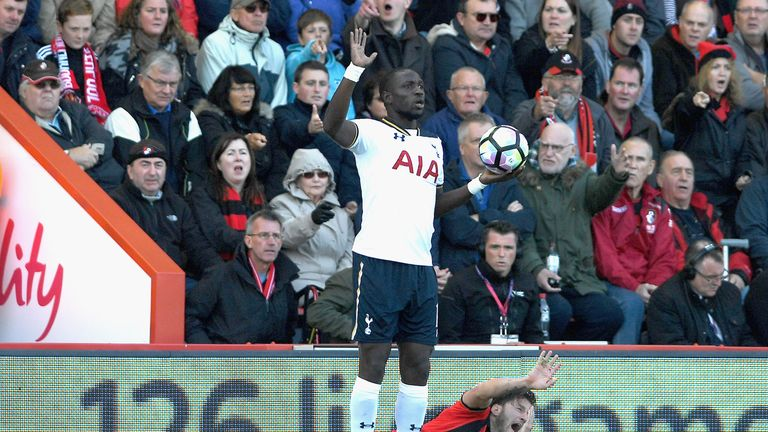 Harry Arter reacts to his clash with Moussa Sissoko