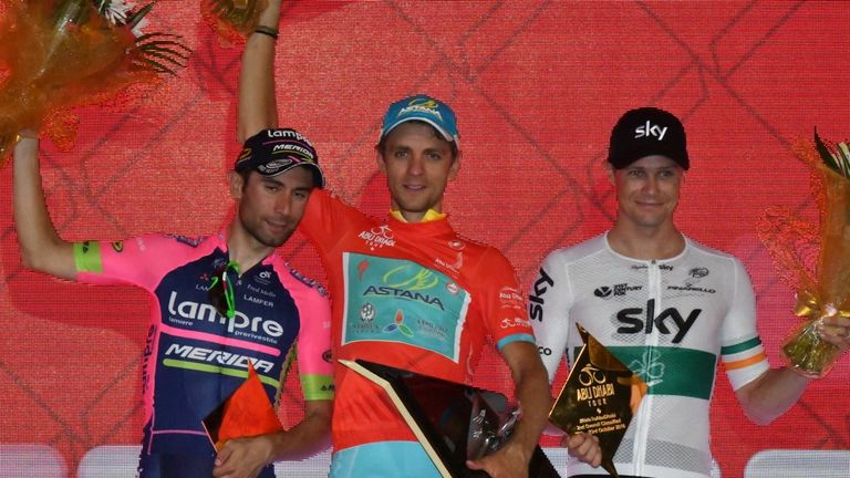 From left, Diego Ulissi, Tanel Kangert and Nicolas Roche on the final overall podium