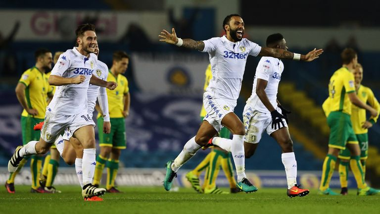 LEEDS, ENGLAND - OCTOBER 25:  Kyle Bartley (c) of Leeds United celebrates his teams win during the EFL Cup Fourth Round match between Leeds United and Norw