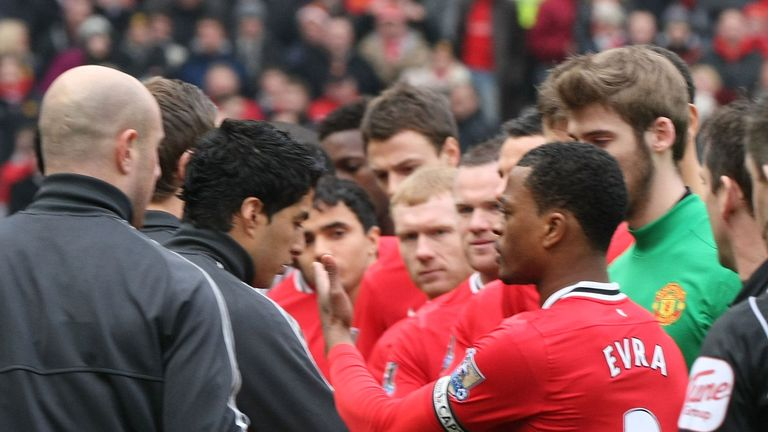 Luis Suarez refused a Patrice Eva handshake before Manchester United's meeting with Liverpool in 2012