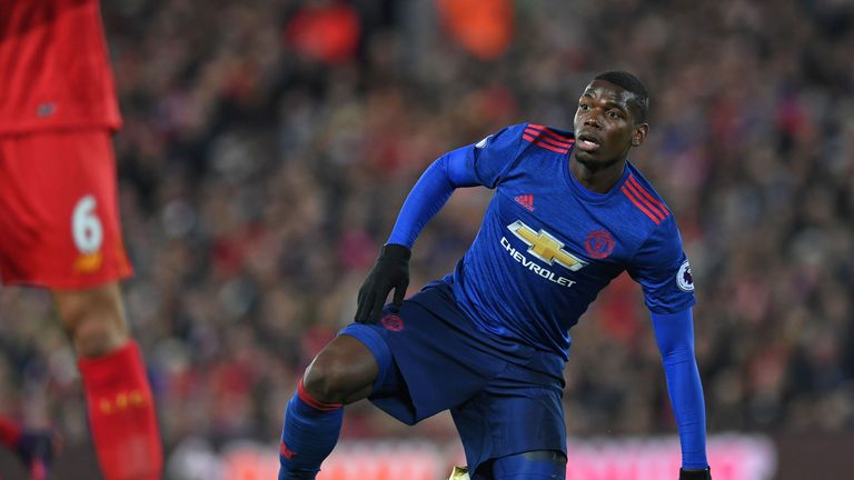 Paul Pogba in action against Liverpool on Monday Night Football