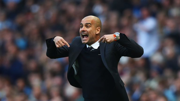 MANCHESTER, ENGLAND - OCTOBER 15: Josep Guardiola, Manager of Manchester City reacts during the Premier League match between Manchester City and Everton at