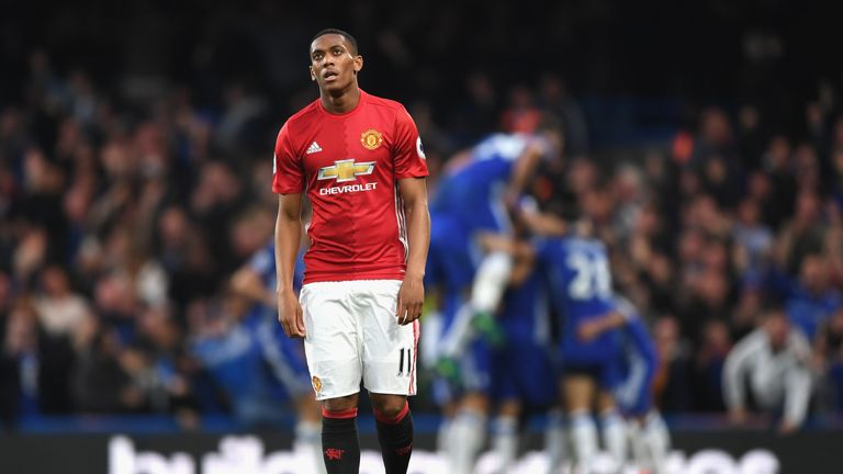 Anthony Martial cuts a dejected figure as Chelsea celebrate their fourth goal