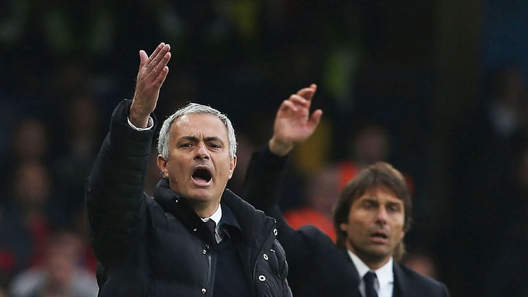 Jose Mourinho and Antonio Conte watch from the touchline at Stamford Bridge