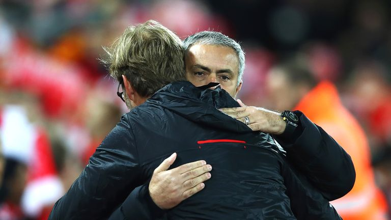 Jose Mourinho is greeted by Jurgen Klopp before the match at Anfield