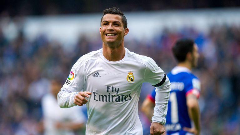 Cristiano Ronaldo of Real Madrid celebrates after scoring a goal during the La Liga match against RC Deportivo La Coruna