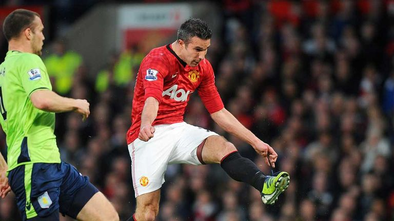 Van Persie blasts home his left-foot volley against Villa in 2013