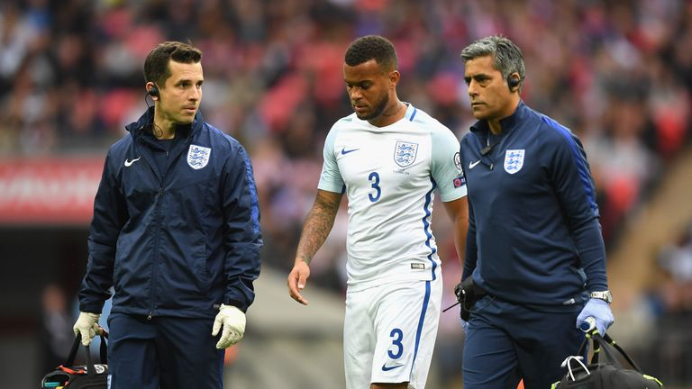 Ryan Bertrand was taken off after pulling his hamstring in the first half