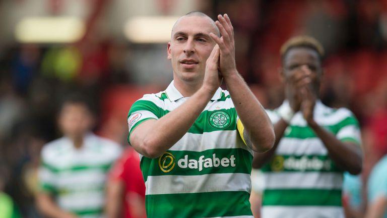Scott Brown applauds the Celtic fans after the win at Aberdeen