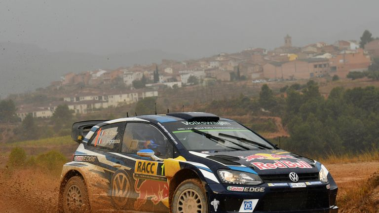 Sebastien Ogier on his way to victory in the Rally of Catalonia
