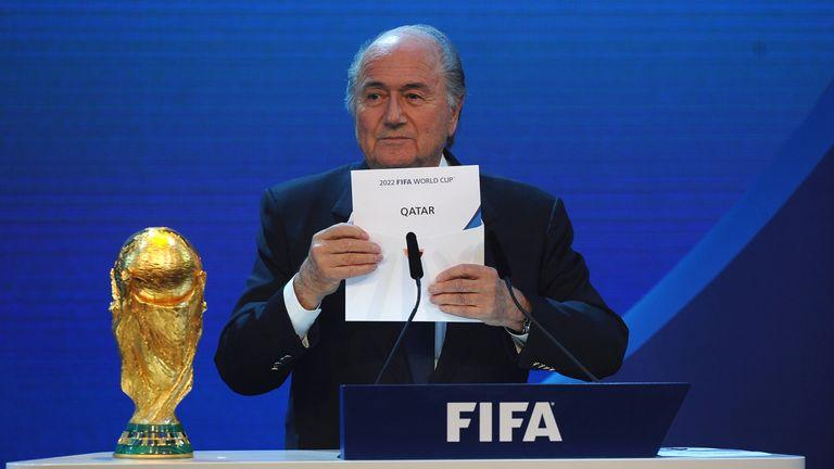 Then-FIFA president Sepp Blatter names Qatar as the winning hosts of the  2022 World 04cf17f23