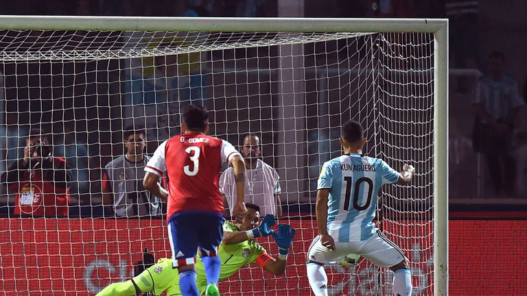 Sergio Aguero saw his penalty saved against Paraguay