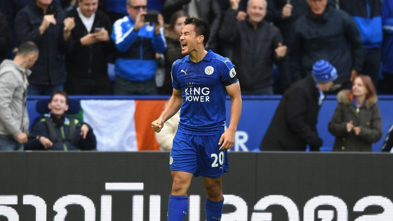 Shinji Okazaki of Leicester City celebrates scoring his sides second goal during the Premier League match between Leicester and Crystal Palace