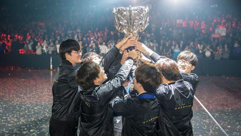 SKT celebrate their third League of Legends World Championship
