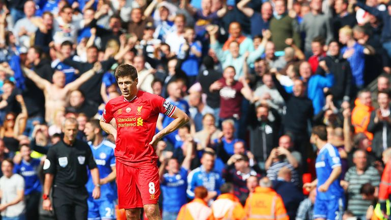 Steven Gerrard looks dejected as Liverpool concede a crucial goal to Chelsea at Anfield in 2014